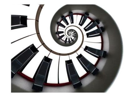 Fototapeta - Klawisze fortepianu, spirala