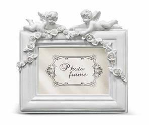 Aniołek Biały Ramka Dekoracyjna Róże 17x17x2.5 cm