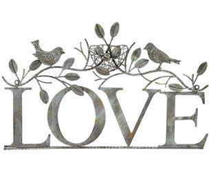 Dekoracja Ścienna Napis Ozdobny Love Ptaki
