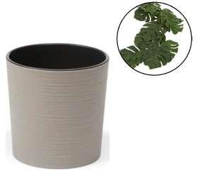 Doniczka z wkładem Malwa Szary Eco H:30,4 cm 30x30