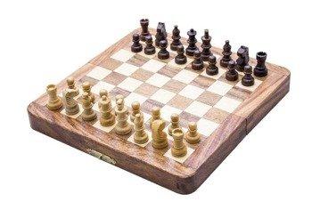 Drewniane szachy magnetyczne z palisandru składane
