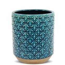 Duża Stylowa Osłonka Ceramiczna Turkusowa h:18cm