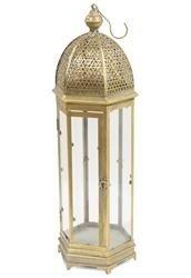 Duży Lampion Metalowy Złoty Ozdobny wys.66-77cm