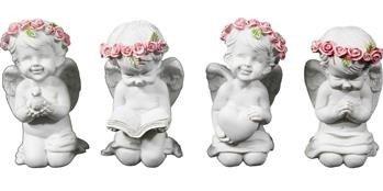 Figurka Anioł  w Różowym Wianku Biały 6,5x3,5x3,5