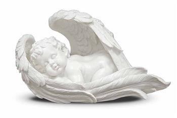 Figurka Aniołek w Skrzydle Śpiący Biały 21x40x20cm