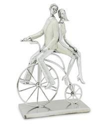 Figurka Bond Srebrna Para Na Rowerze 35x24cm
