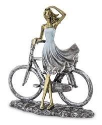 Figurka Wypatrująca Dama z rowerem suknia 22x21cm