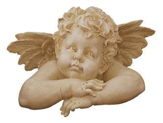 Figurka Zamyślony Aniołek Kamienny 48 x 48 cm