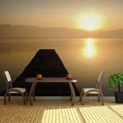 Fototapeta XXL - pomost, jezioro, zachód słońca...