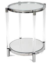 Klasyczny Srebrny Stolik Okrągły Szkło Metal h:61