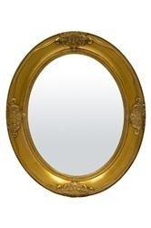 Lustro Owalne w Drewnianej Złotej Ramie 66x56x5 cm