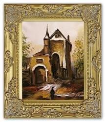 """Obraz """"Architektura"""" ręcznie malowany 27x32cm"""