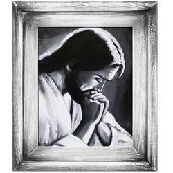 Obraz - Chrystus - olejny, ręcznie malowany 27x32cm