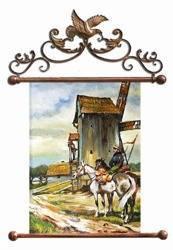 """Obraz """"Dworki, mlyny, chaty,"""" ręcznie malowany 68x95cm"""