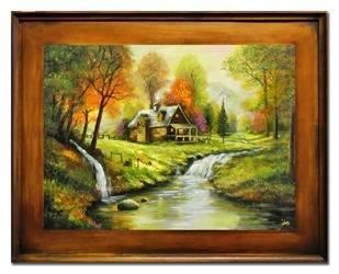 """Obraz """"Dworki, mlyny, chaty,"""" ręcznie malowany 72x92cm"""