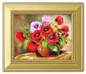 """Obraz """"Maki"""" ręcznie malowany 27x32,0cm"""