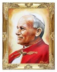 Obraz - Papież Jan Paweł II - olejny, ręcznie malowany 37x47cm