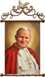 """Obraz """"Papież Jan Paweł II"""" ręcznie malowany 69x110cm"""