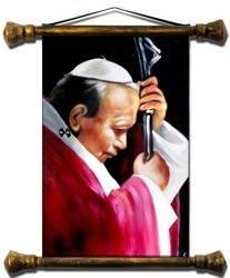 """Obraz """"Papież Jan Paweł II"""" ręcznie malowany 73x88cm"""