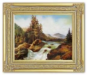 """Obraz """"Pejzaz tradycyjny"""" ręcznie malowany 27x32cm"""