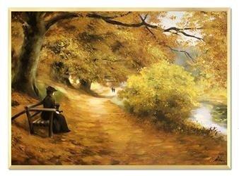 """Obraz """"Pejzaz tradycyjny"""" ręcznie malowany 50x70cm"""