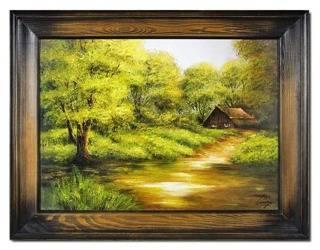"""Obraz """"Pejzaz tradycyjny"""" ręcznie malowany 72x92cm"""