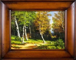 """Obraz """"Pejzaz tradycyjny"""" ręcznie malowany 76x96cm"""