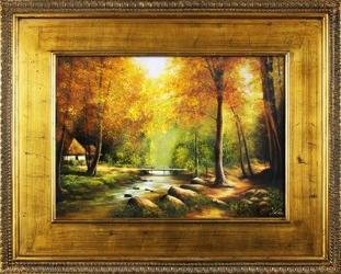 """Obraz """"Pejzaz tradycyjny"""" ręcznie malowany 80x100cm"""