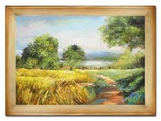 """Obraz """"Pejzaz tradycyjny"""" ręcznie malowany 82x112cm"""