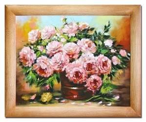 """Obraz """"Piwonie"""" ręcznie malowany 53x64cm"""