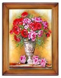 """Obraz """"Piwonie"""" ręcznie malowany 64x84cm"""