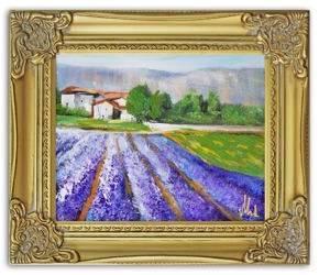 Obraz - Pola lawendowe - olejny, ręcznie malowany 27x32cm