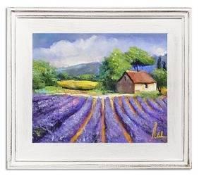 """Obraz """"Pola lawendowe"""" ręcznie malowany 27x32cm"""