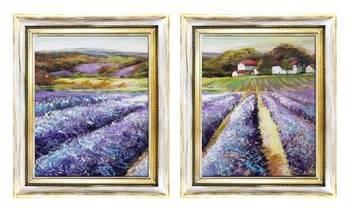 """Obraz """"Pola lawendowe"""" ręcznie malowany 58x68cm x 2"""