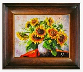 """Obraz """"Sloneczniki"""" ręcznie malowany 53x64cm"""