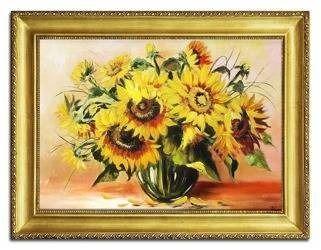 """Obraz """"Sloneczniki"""" ręcznie malowany 65x85cm"""