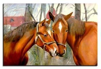 """Obraz """"Zwierzęta"""" ręcznie malowany 60x90cm"""