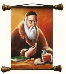 """Obraz """"Żyd na szczęście"""" ręcznie malowany 45x50cm"""