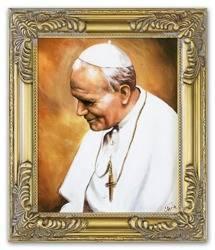 Papież Jan Paweł II ręcznie malowany 27x32cm
