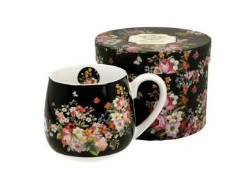 Pl Kubek Baryłka 430 Ml Vintage Flowers - Black
