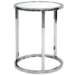 Prosty Srebrny Stolik Okrągły Metal Szkło 50x39,5