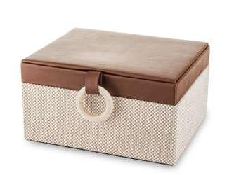 Szkatułka Na Biżuterię kuferek brązowy aksamit