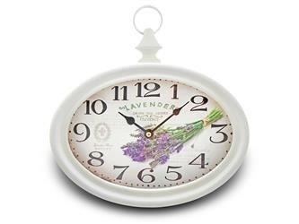 Zegar Arabski Retro Biały Kwiaty 26x28cm