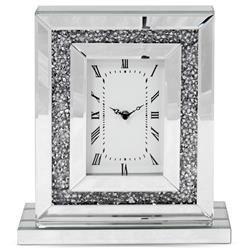Zegar ścienny ozdobny klasyczny srebrny szkło h:36