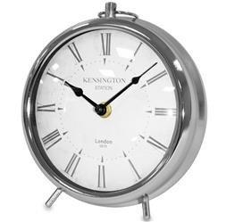 Zegar stojący ozdobny stylowy srebrny biały metal