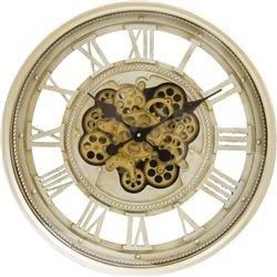 Zegar wiszący ozdobny stylowy metal zębatki złoto