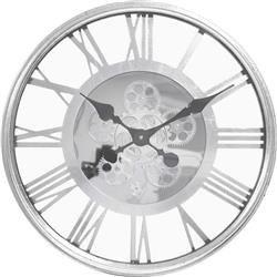 """Zegar wiszący ozdobny stylowy srebrny """"W Zębatki"""""""