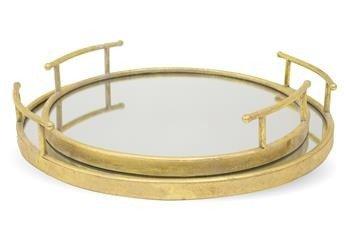 Złota Taca z Lustrem Kpl. 2 Szt. Metal h:65/6,5cm