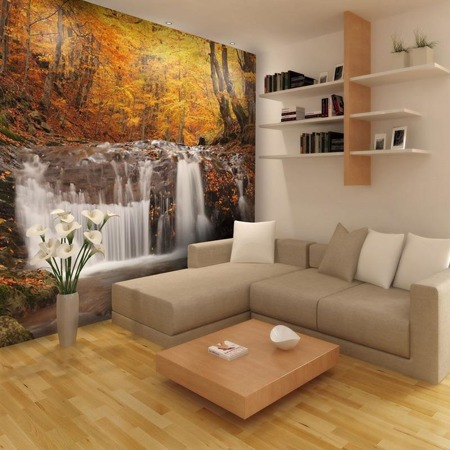 Fototapeta - Autumn landscape : waterfall in forest