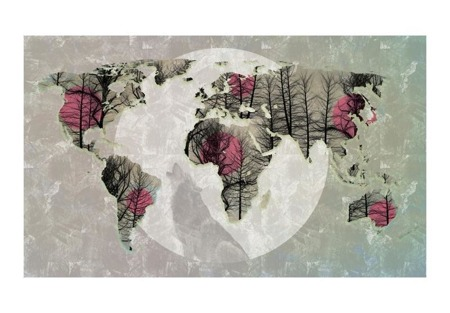 Fototapeta - Map of the World - Howling to the moon